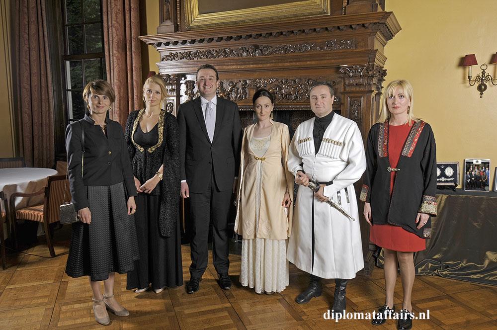 1 H.E. Konstantine Surgarladze, State Minister David Bakradze and Mrs. Nino Rusadze with staff