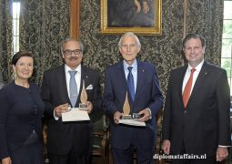 Flame of Peace Award for former Portuguese Ambassador José de Bouza Serrano and H.E. Dr. Ben Bot Chairman Carnegie Foundation