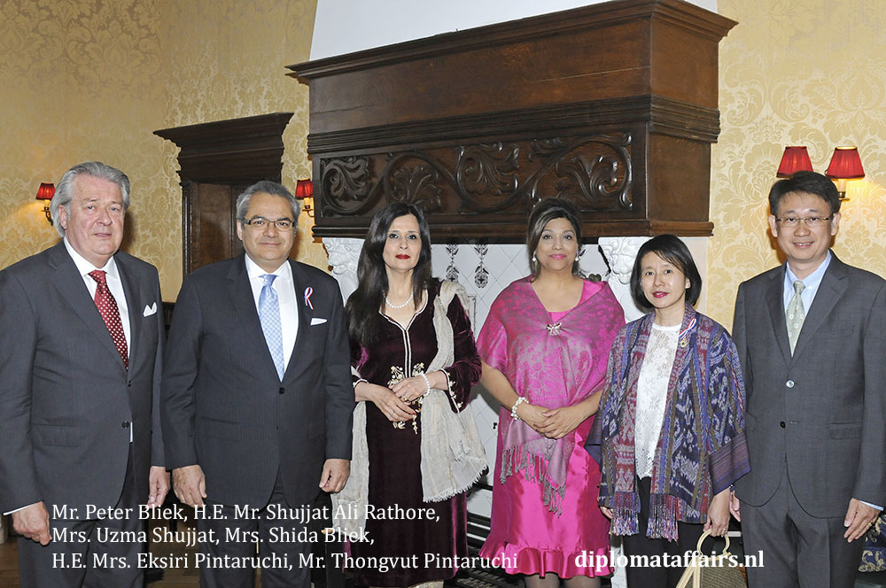 2. Mr. Peter Bliek, H.E. Mr. Shujjat Ali Rathore, Mrs. Uzma Shujjat, Mrs. Shida Bliek, H.E. Mrs. Eksiri Pintaruchi, Mr. Thongvut Pintaruchi
