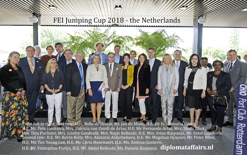 FEI jumping Cup 2018 CHIO Rotterdam. Hosts Mr. Jan de mooij, Mr. Peter Goedvolk and Mrs. Shida Bliek Diplomat Club Wassenaar diplomataffairs.nl