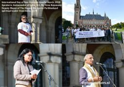International Day of Non-Violence with large Gandhi March from iconic Peace Palace to Grote Kerk The Hague