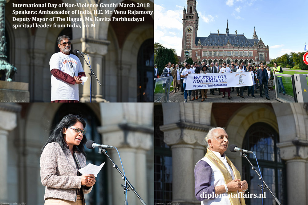 Ghandi March 2018 H.E. Venu Rajamony, Deputy Mayor Ms. Kavita Parbhudayal, spiritual leader from India, Sri M