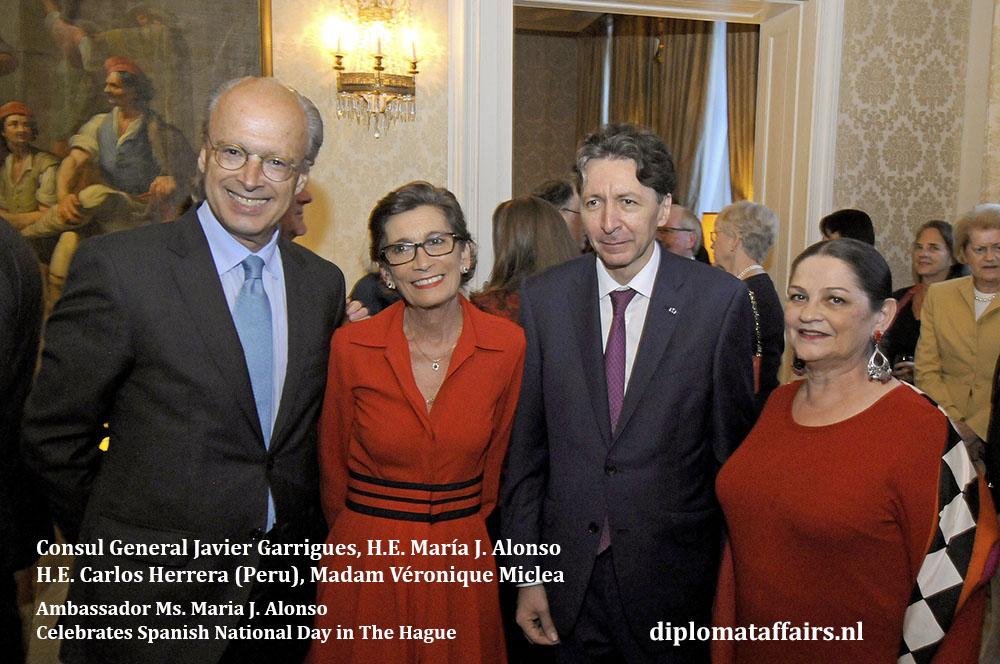 4. Consul General Javier Garrigues, H.E. María J. Alonso, H.E. Carlos Herrera, Madam Véronique Miclea Diplomat Affairs Magazine