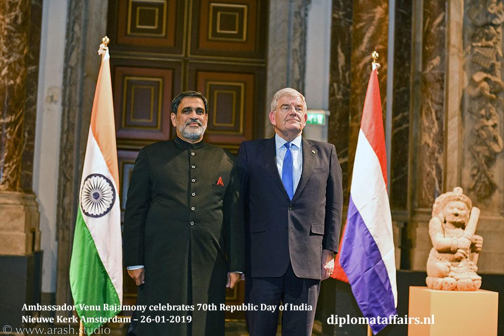 Ambassador Venu Rajamony celebrates 70th Republic Day of India Mayor Jan van Zanen Diplomat Affairs Magazine