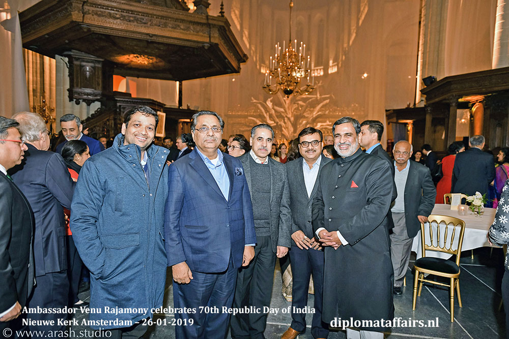 HE Mr. Venu Rajamony Mr VK Arora and staff CMD, LT Foods Diplomat Affairs Magazine