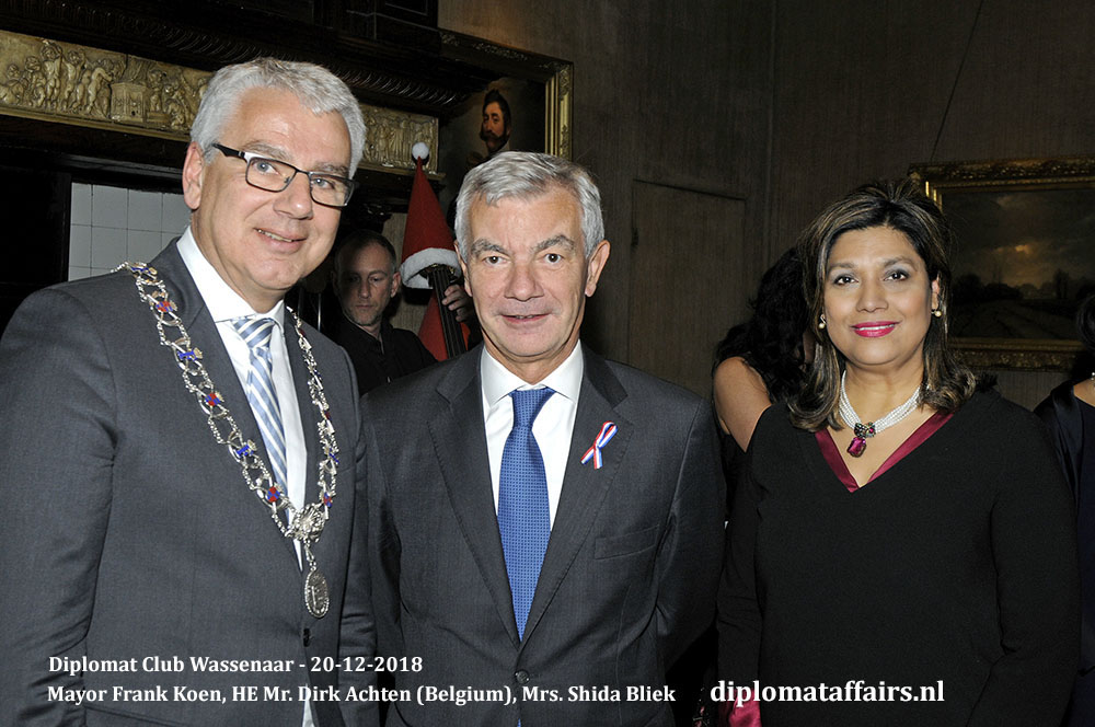663.jpg Welcome new Ambassadors Mayor Frank Koen, HE Mr. Dirk Achten (Belgium), Mrs. Shida Bliek Diplomat Club Wassenaar Diplomat Affairs Magazine