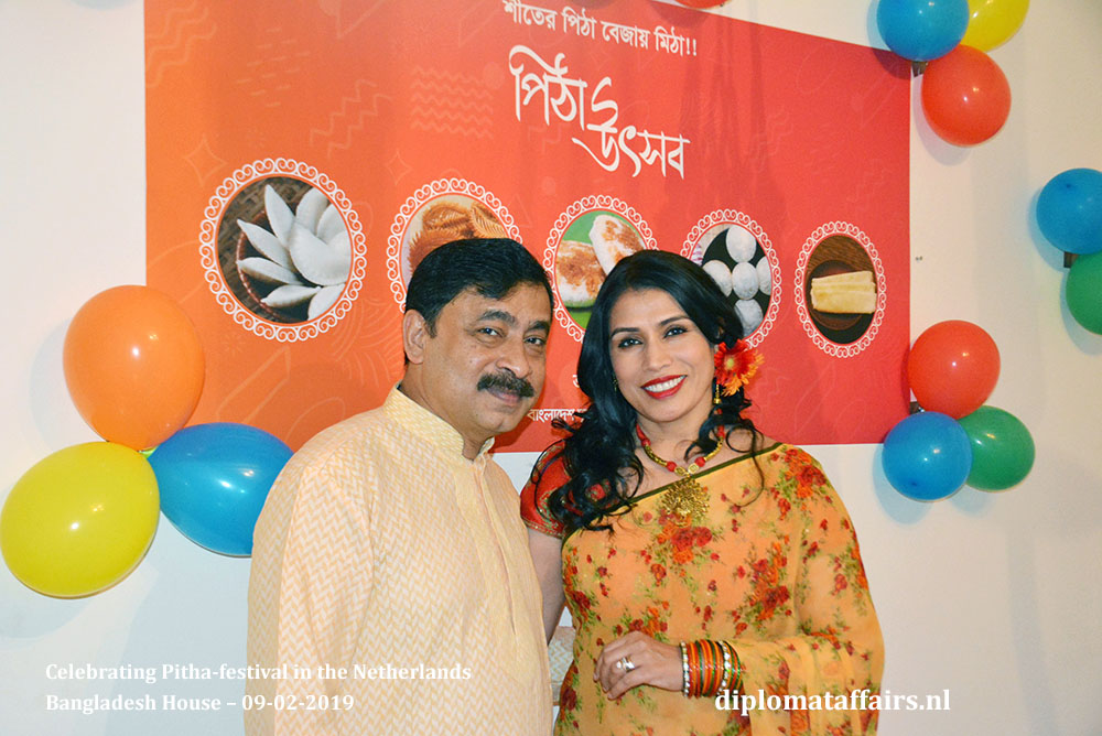 Ambassador Sheikh Mohammed Belal and Dr Dilruba Nasrin Celebrating Pitha-festival in the Netherlands Diplomat Affairs Magazine