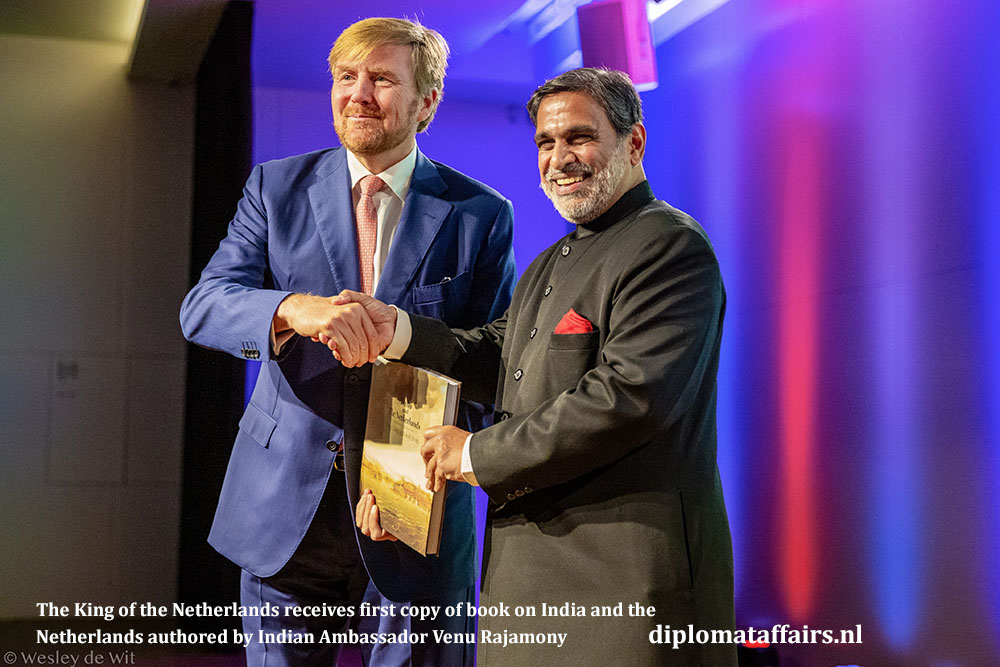 The King of the Netherlands, His Mayesty Willem-Alexander and the Ambassador of India, H.E. Mr. Venu Rajamony