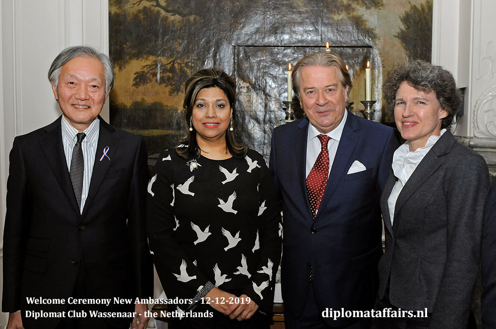 10.jpg the Ambassador of Japan, H.E. Mr Hidehisa Horinouchi, Mrs Shida Bliek, Mr Peter Bliek and Mrs Sabine Horinouchi Diplomat Club Wassenaar Diplomat Affairs Magazine