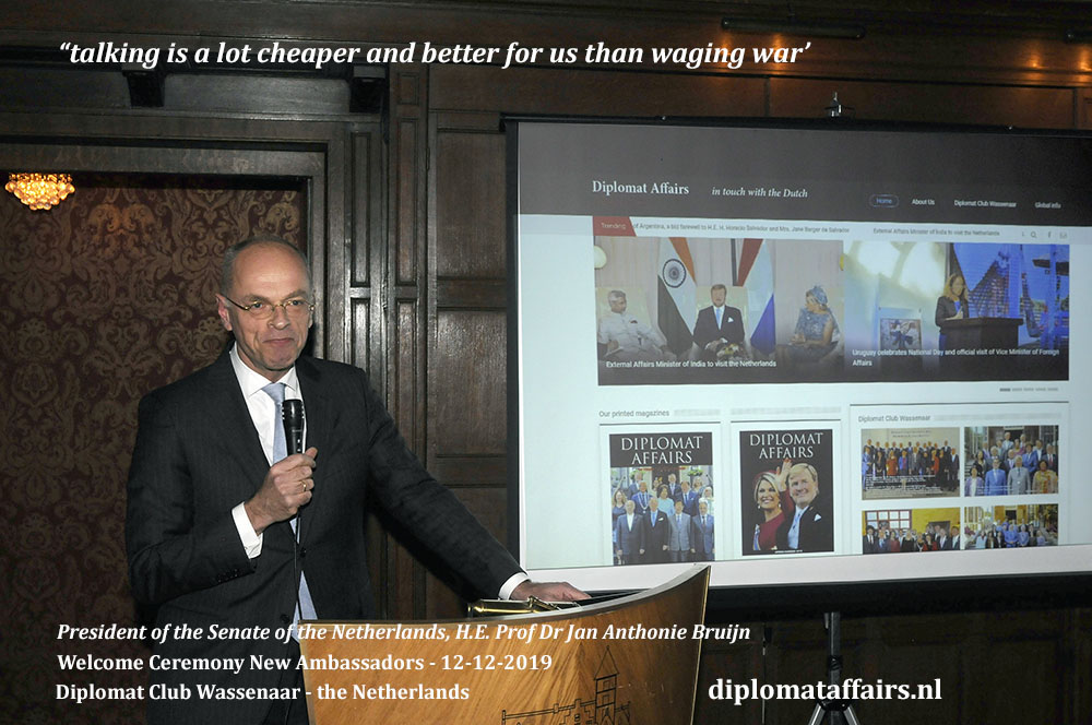 4.jpg the President of the Senate of the Netherlands, H.E. Prof Dr Jan Anthonie Bruin, stressing his admiration and support for the Diplomats of the world. Diplomat Affairs Magazine