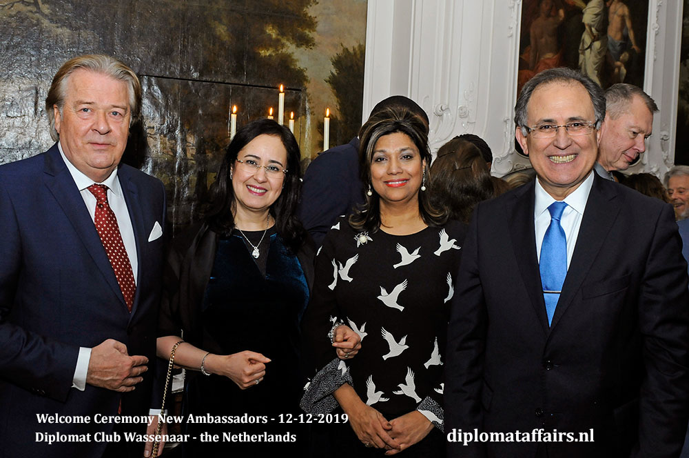 9.jpg Mr Peter Bliek, Mrs Shida Bliek, Mrs Najat Bellouki, Ambassador of Morocco H.E. Mr. Abdelouahab Bellouki Diplomat Club Wassenaar Diplomat Affairs Magazine
