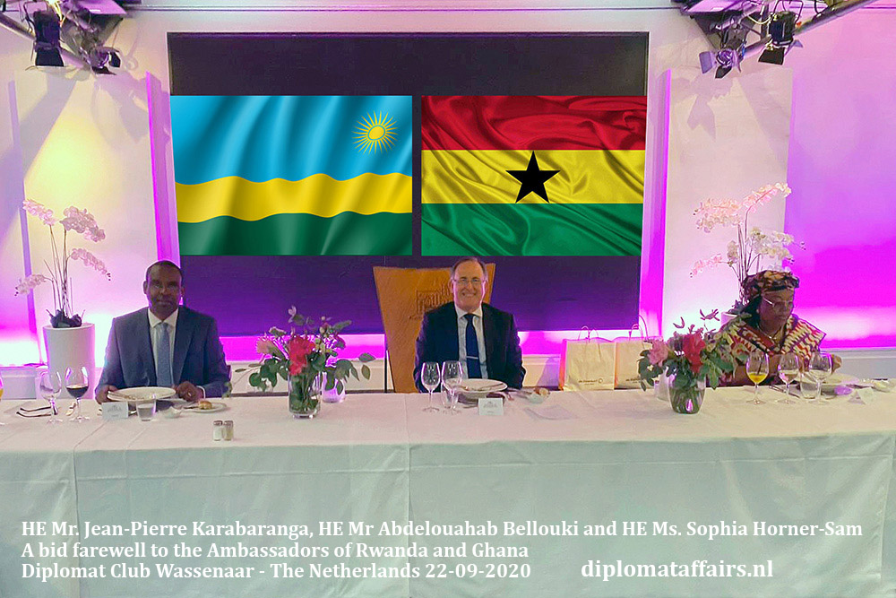 01.jpg HE Mr. Jean-Pierre Karabaranga, HE Mr Abdelouahab Bellouki and HE Ms. Sophia Horner-Sam A bid farewell to the Ambassadors of Rwanda and Ghana Diplomat Affairs Magazine