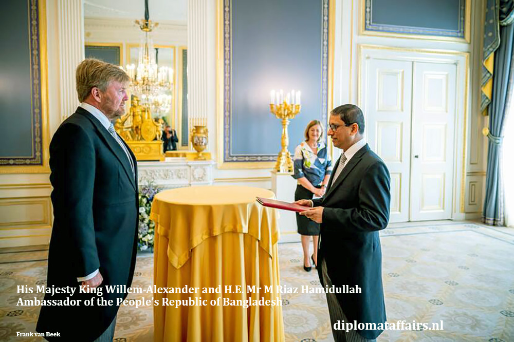 HM King Willem-Alexander and H.E. Mr M Riaz Hamidullah, Ambassador of  Bangladesh  15-07-2020. Diplomat Affairs Magazine