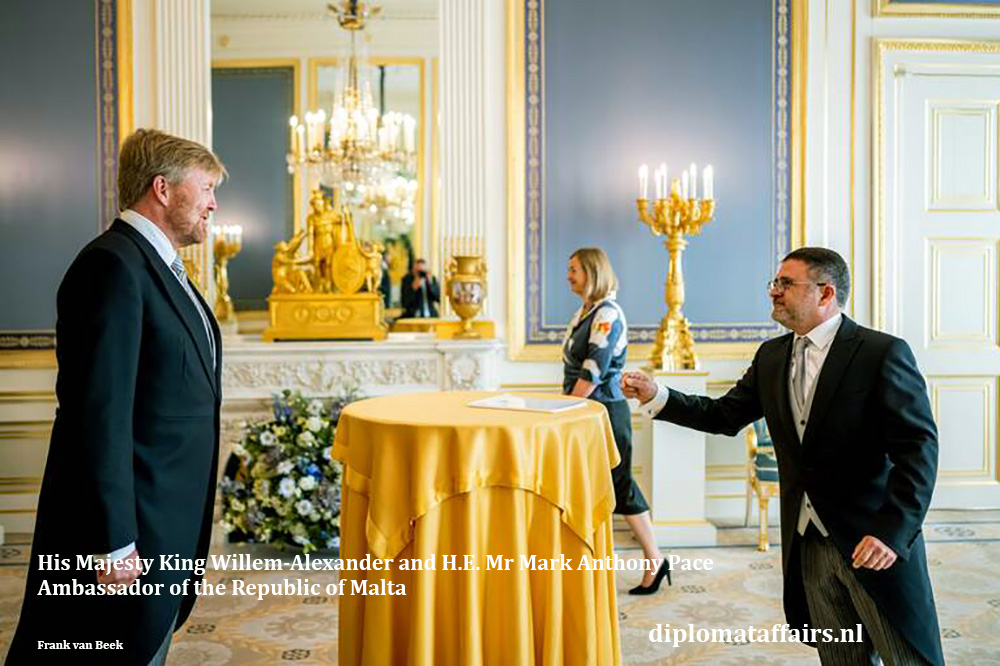 HM King Willem-Alexander and H.E. Mr Mark Anthony Pace, Ambassador of Malta 15-07-2020. Diplomat Affairs Magazine