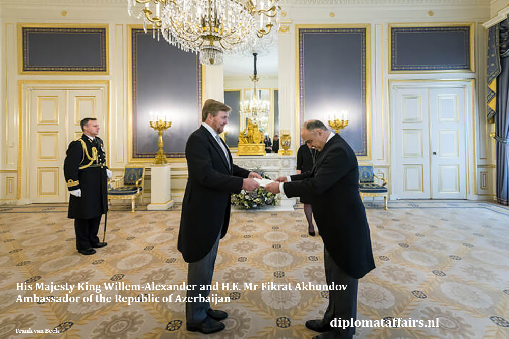 HM King Willem-Alexander and H.E. Mr Fikrat Akhundov Ambassador of Azerbaijan 10-02-2020. Diplomat Affairs magazine