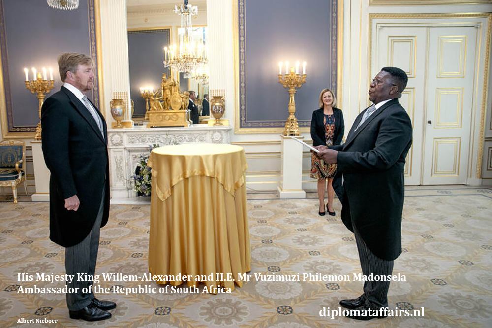 HM King Willem-Alexander and H.E. Mr Vuzimuzi Philemon Madonsela, Ambassador of  South Africa 08-07-2020. Diplomat Affairs Magazine