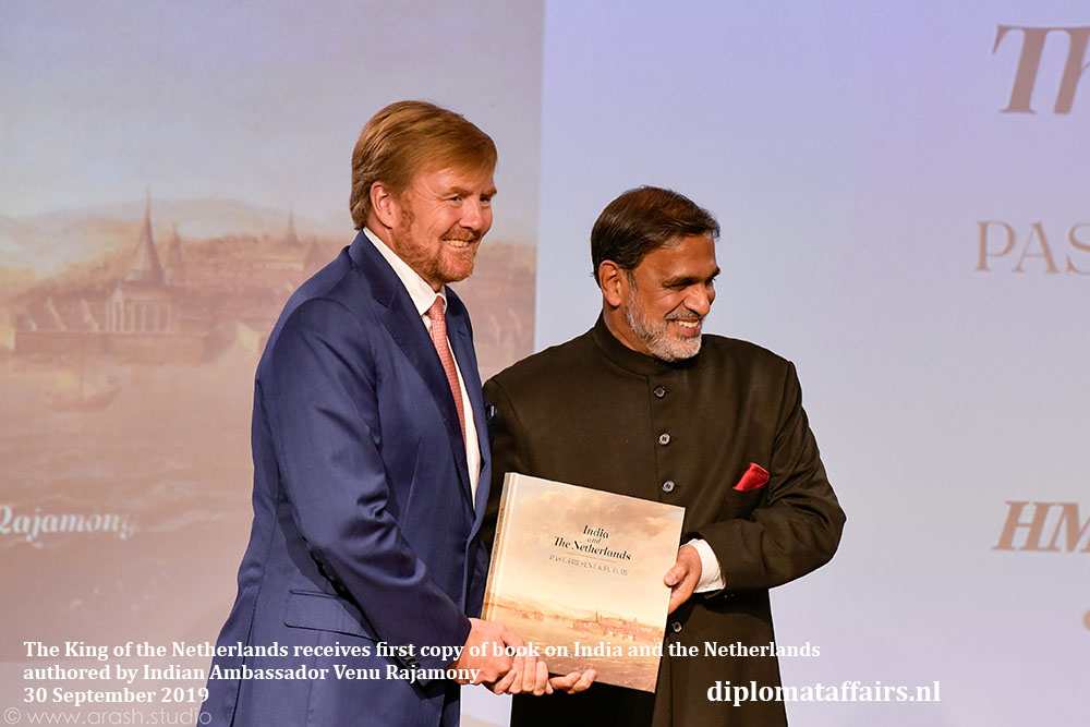HM  King Willem-Alexander receives first copy of book on India and the Netherlands authored by Indian Ambassador Venu Rajamony Diplomat Affairs Magazine
