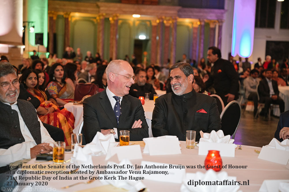 5.jpg President of the Senate of the Netherlands Prof. Dr. Jan Anthonie Bruijn was the Guest of Honour at a diplomatic reception hosted by Ambassador Venu Rajamony Diplomat affairs magazine